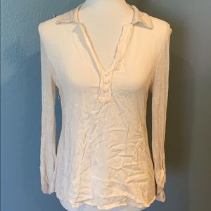 Postage Stamp Tan Cream Blouse